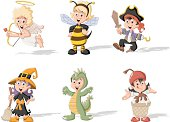 Group of cartoon kids wearing different costumes