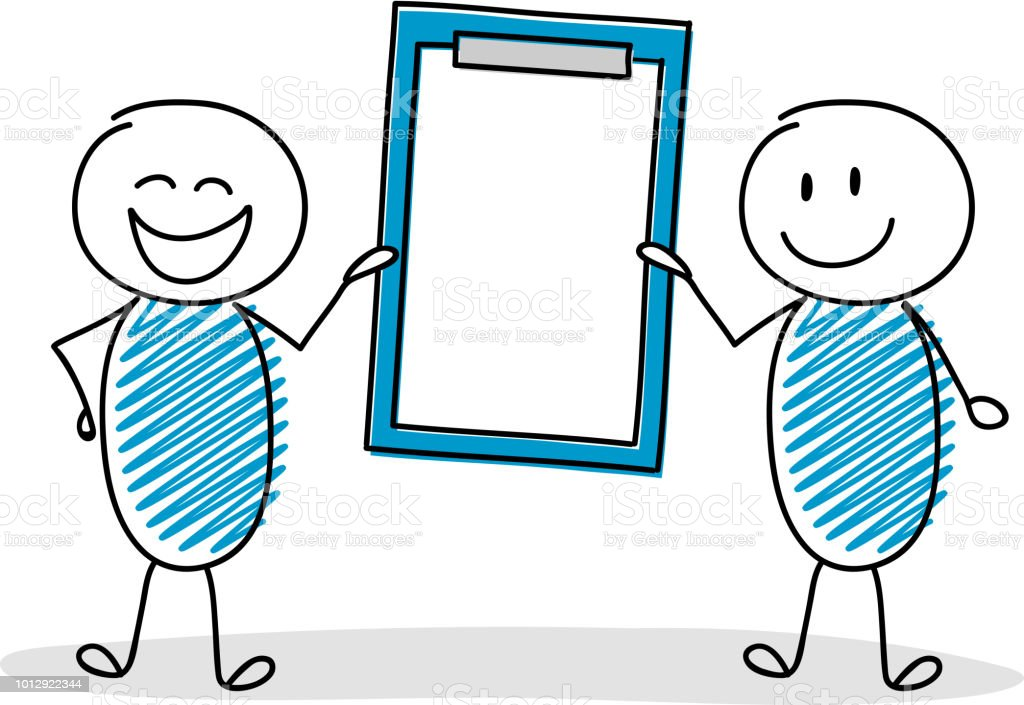 Group of cartoon people holding empty clipboard. Vector. vector art illustration