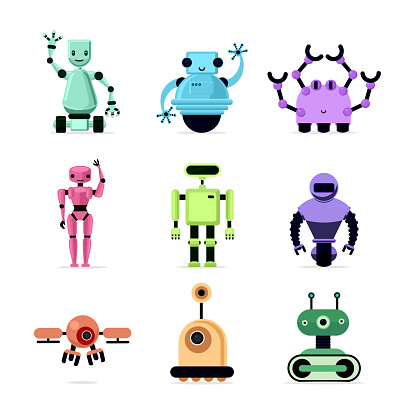 Group of cartoon robots on white background. Cyborgs, androids and drone. Vector illustration.