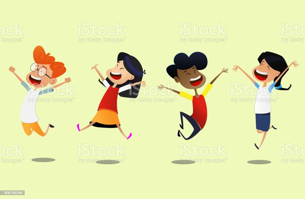 Group of cartoon school children jump for joy. vector art illustration