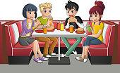 Group of cartoon teenagers eating junk food at diner table.
