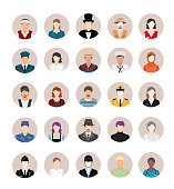 A group of cartoon worker characters with different professions. Businessmen and Business women avatars design. Portraits of successful young professions person character in uniform vector stock illustration. Professions icons set. Vector illustration in flat style
