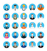 A group of cartoon worker characters with different professions. Businessmen and Business women avatars. Portraits of successful young professions person character designs in uniform vector stock illustration. International Workers' Day, Labour Day Portraits of people