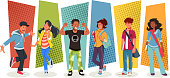 istock Group of cartoon young people. 1266316498