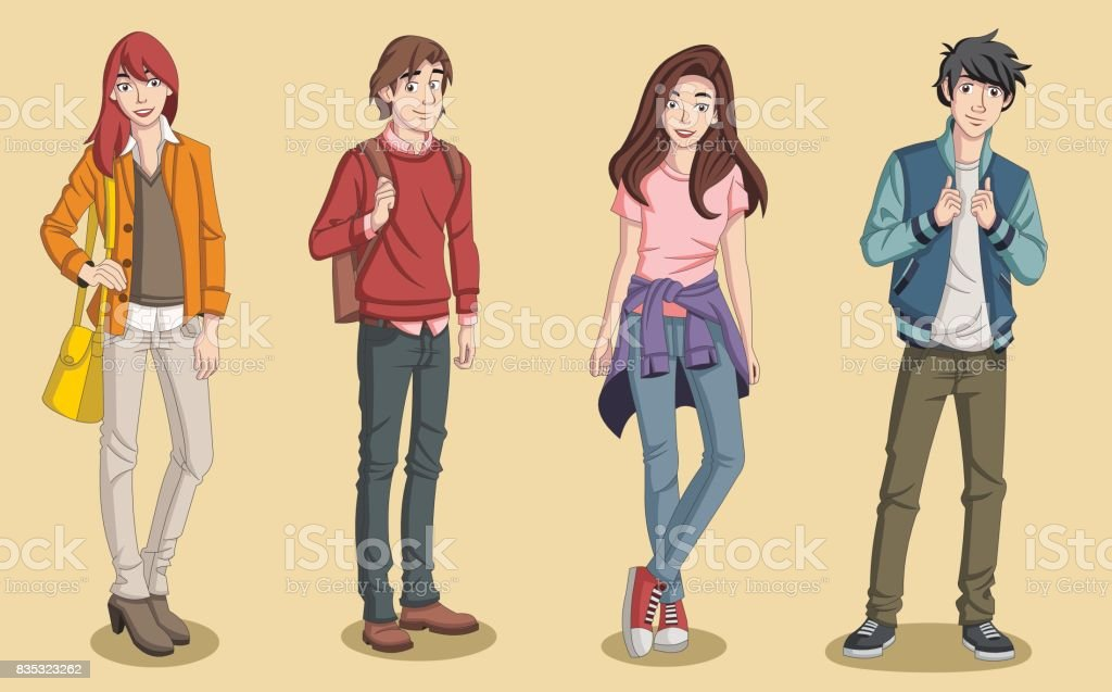 Group of cartoon young people. vector art illustration