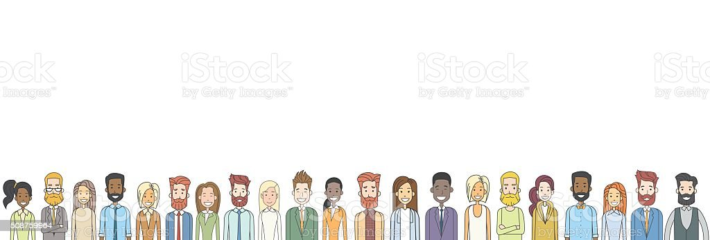 Group of Casual People Big Crowd Diverse Ethnic Horizontal Banner vector art illustration