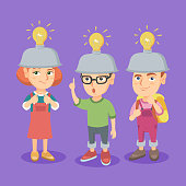 Group of caucasian children with idea light bulbs above their heads. Kids coming up with excellent ideas. Successful idea and innovation concept. Vector cartoon illustration. Square layout.