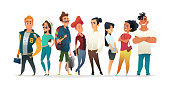 Group of charismatic smiling young people standing together. Students, schoolchildren, young professionals collection. Cartoon Characters design for your projects.
