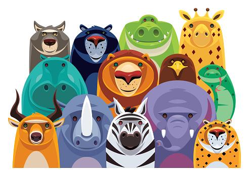 group of cheerful safari animals