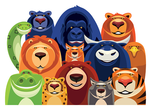 group of cheerful wild animals gathering