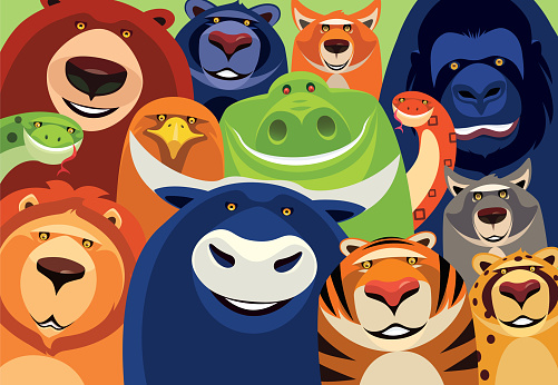 group of cheerful wild animals meeting