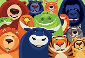 istock group of cheerful wild animals meeting 1284205229