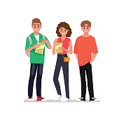Group of cheerful young people enjoying home party with snacks.Vector illustration cartoon character.