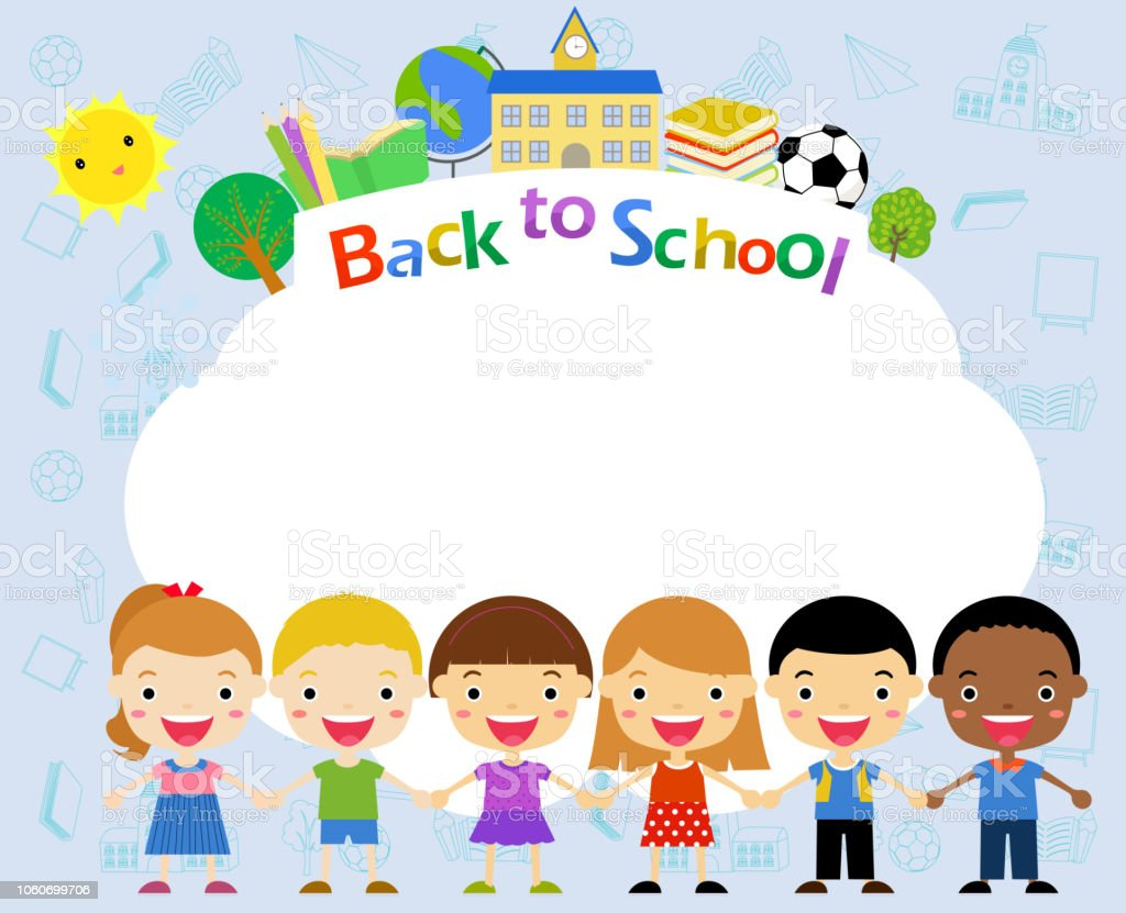 eb10f1b3403 Group Of Children And Frame Back To School Stock Vector Art   More ...