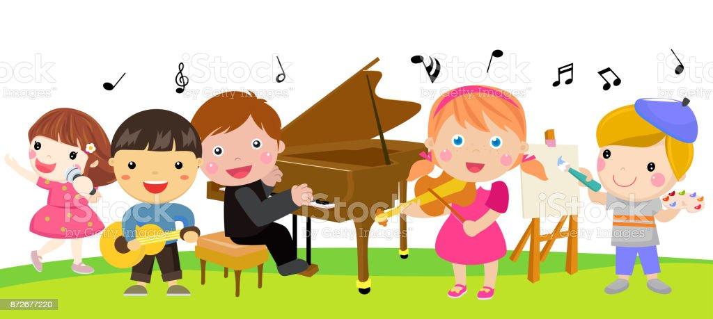 Group of children and music vector art illustration