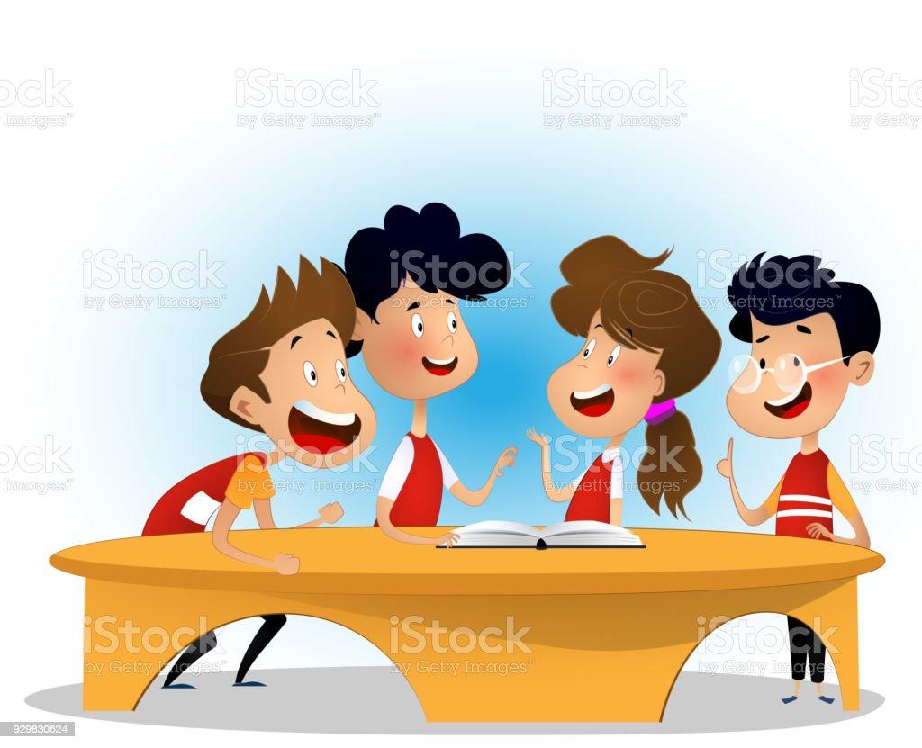 Gruppe von Kindern diskutieren Buch in Bibliothek – Vektorgrafik