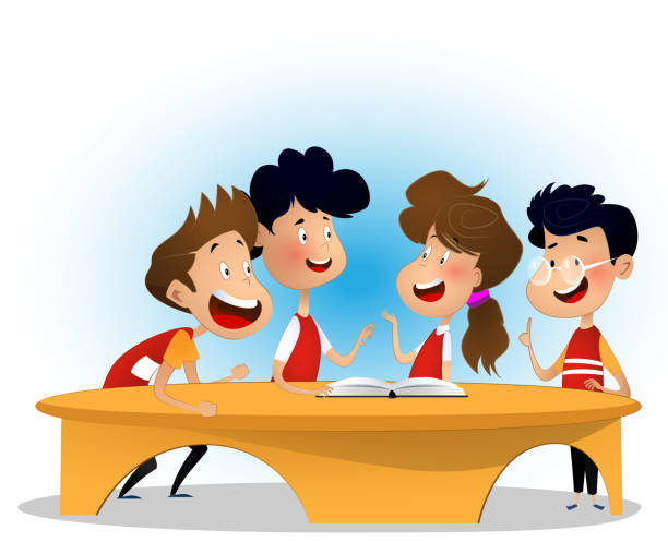 group of children are discussing book in library - language class stock illustrations, clip art, cartoons, & icons