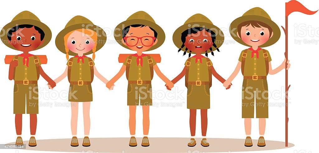 Group of children boys and girls scouts in the uniform vector art illustration