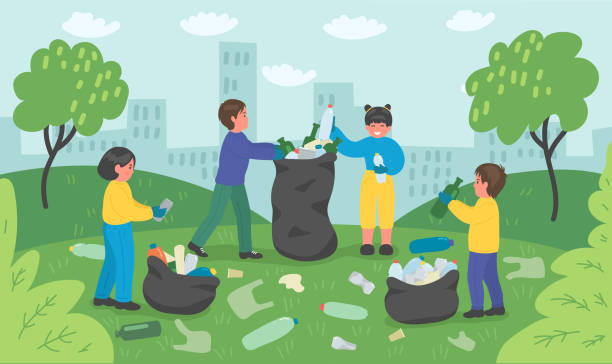 illustrazioni stock, clip art, cartoni animati e icone di tendenza di group of children cleaning up city park - raccogliere frutta