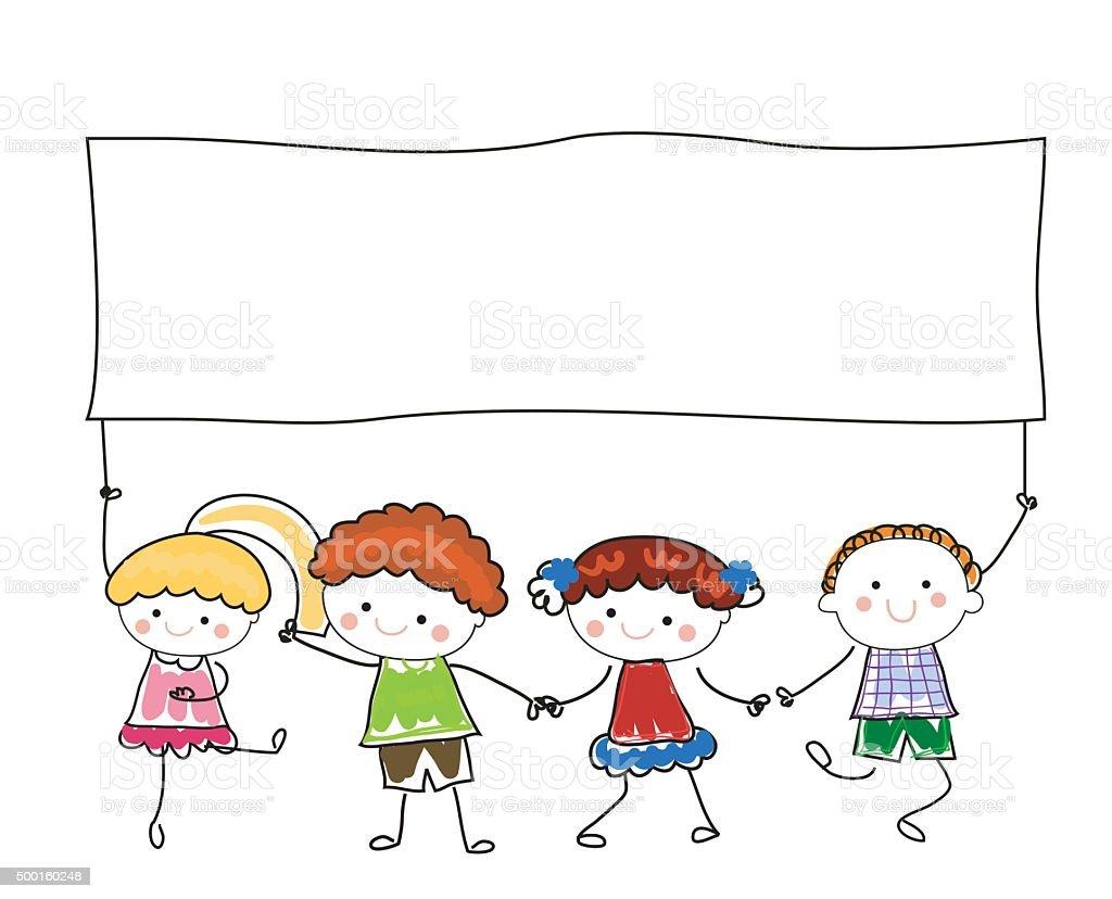 Group Of Children Holding Banner Stock Vector Art & More