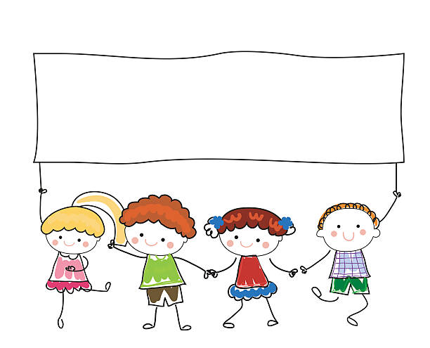 bildbanksillustrationer, clip art samt tecknat material och ikoner med group of children holding banner - förskolebyggnad