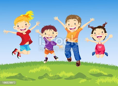 istock Group of Children Jumping in Spring 156329972