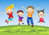 Group of happy child jumping on meadow