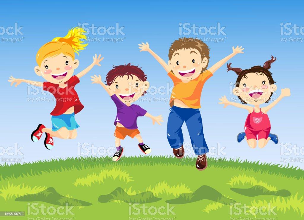 Grupo de crianças pulando na primavera - ilustração de arte em vetor