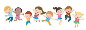 Group of Children Jumping