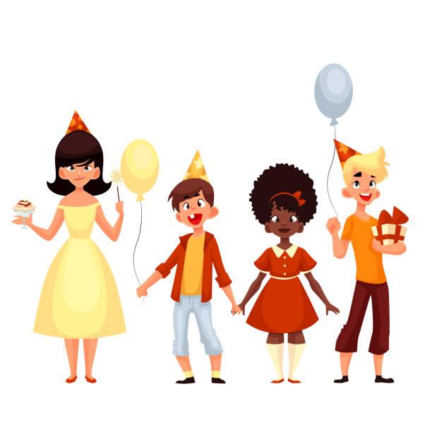 illustrations, cliparts, dessins animés et icônes de groupe de enfants pour les fêtes de fin d'année - ballon anniversaire smiley