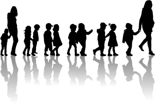 Group of children on a walk. Group of children on a walk. preschool teacher stock illustrations