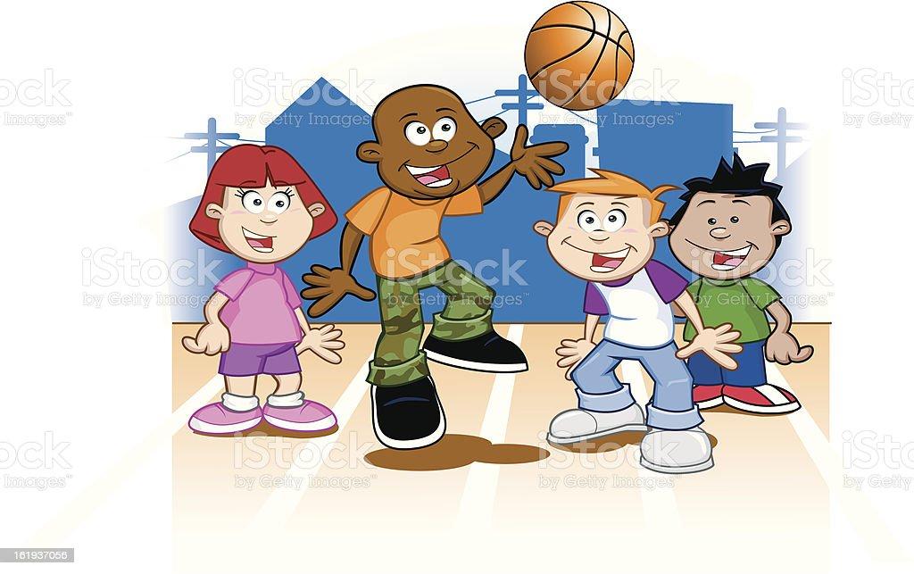 Gruppo Di Bambini Che Giocano A Basket Immagini Vettoriali Stock E