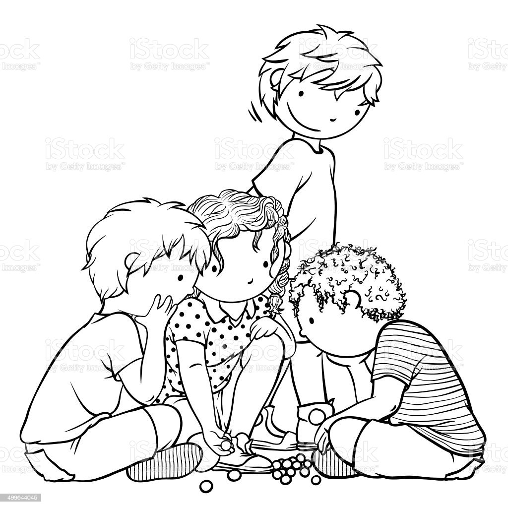 group of children playing marbles illustration for coloring book