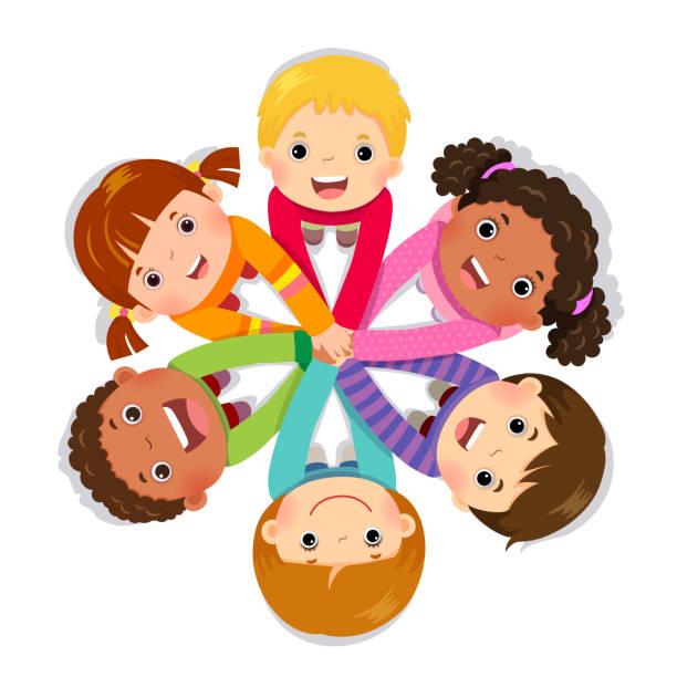 gruppe von kindern, die zusammenstellung von händen auf weißem hintergrund - kind stock-grafiken, -clipart, -cartoons und -symbole