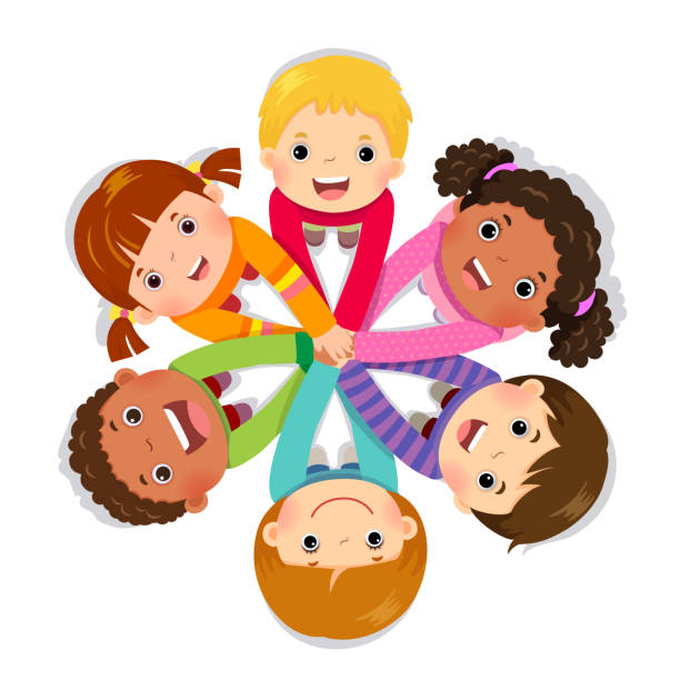 Group of children putting hands together on white background Group of children putting hands together on white background clip art stock illustrations