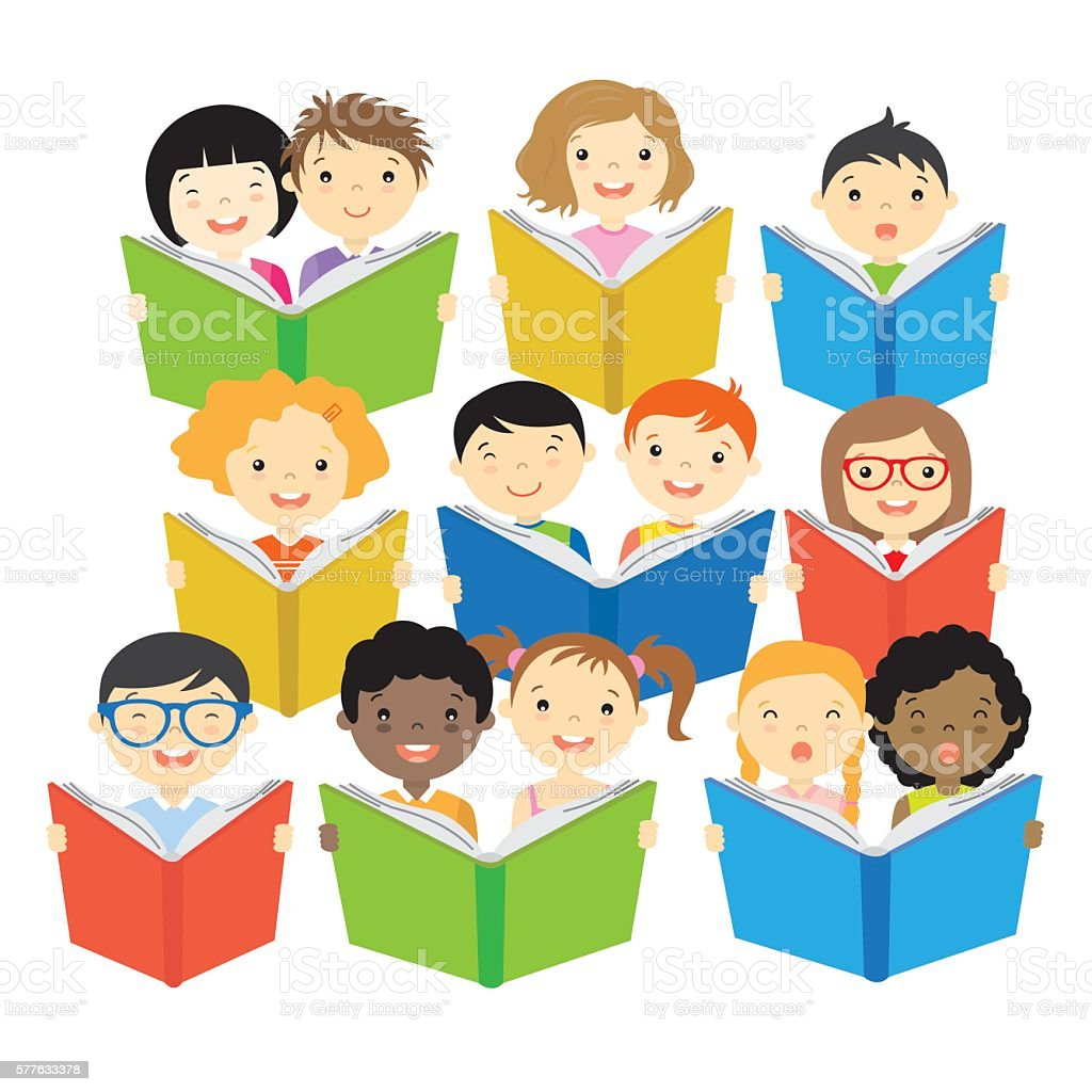 Group of children reading vector art illustration
