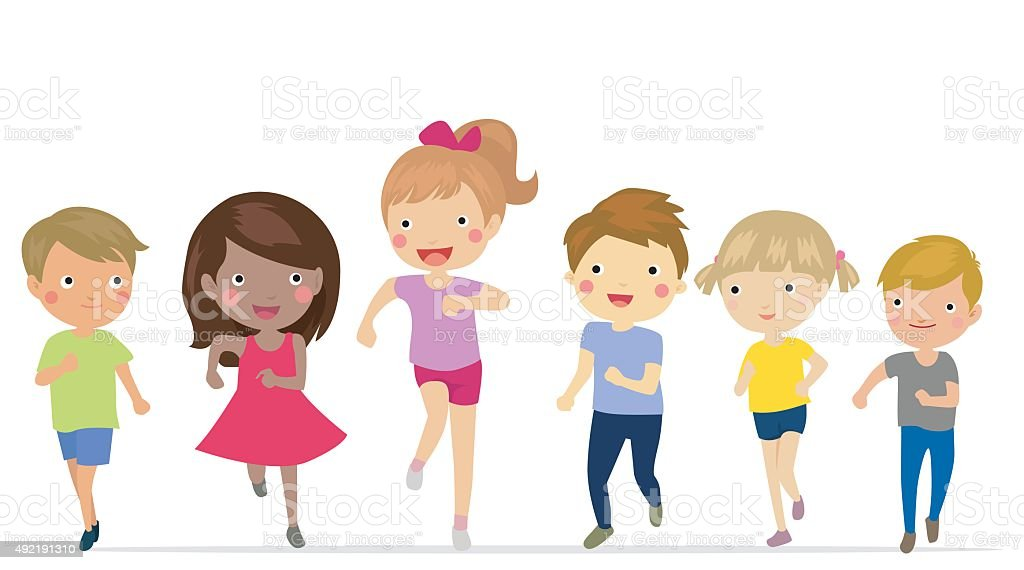 royalty free clip art of children running race clip art vector rh istockphoto com child running clipart black and white Girl Running Clip Art