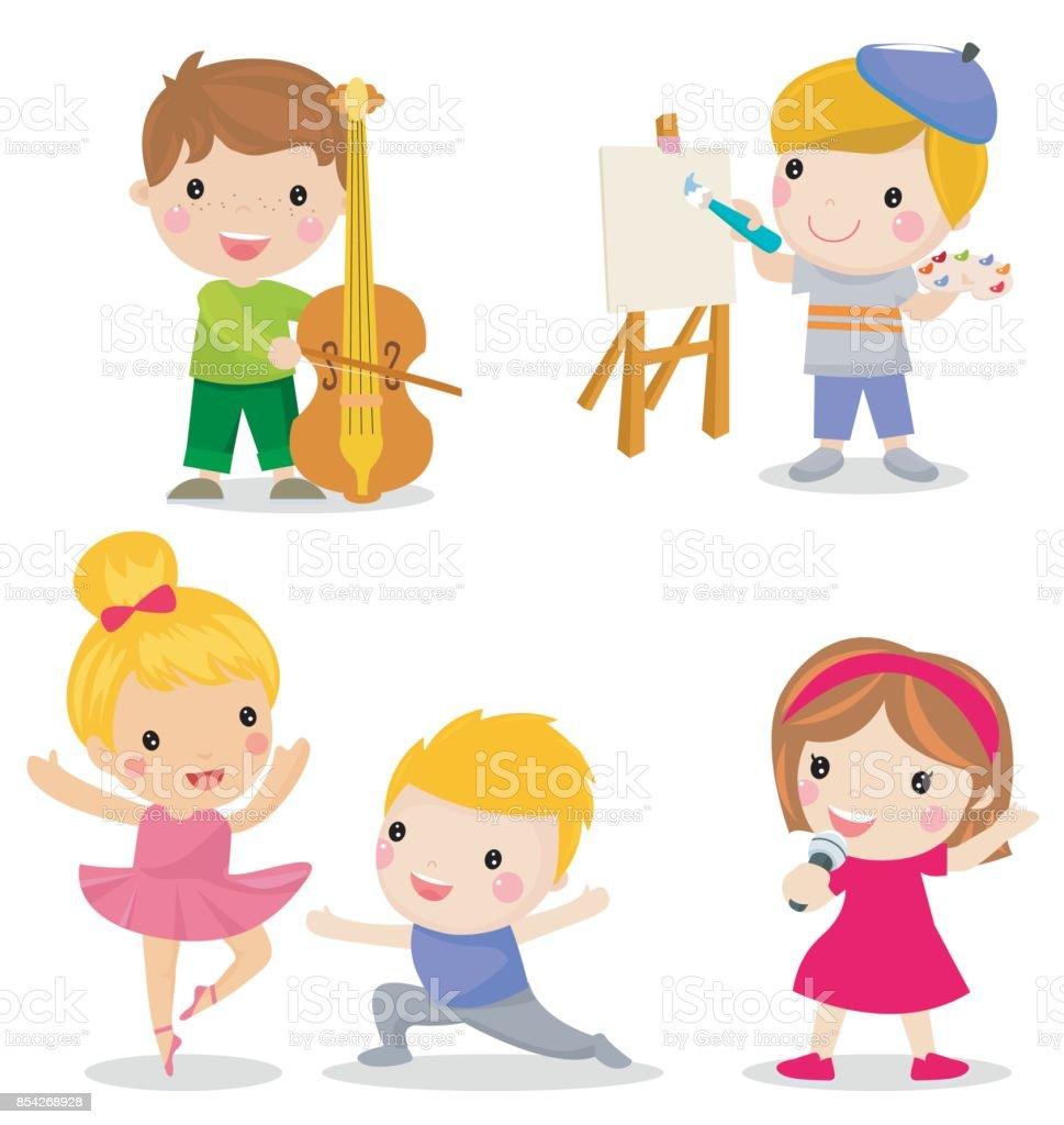 Groupe denfants ensemble jouer du violon dessin danse chant vecteurs libres de droits et plus d - Dessin groupe d enfants ...
