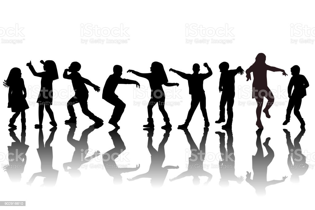 Group of children silhouettes dancing vector art illustration