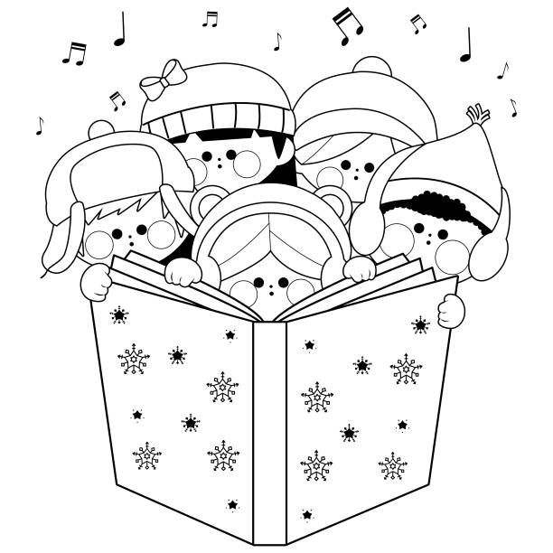 Group Of Children Singing Christmas Carols Vector Black And White Coloring Page Stock Illustration Download Image Now Istock