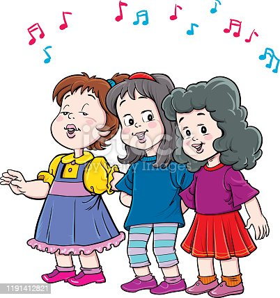 istock group of children singing. Vector isolated 1191412821