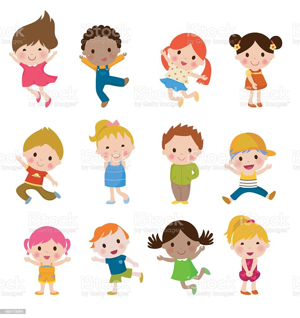 Group of children vector art illustration