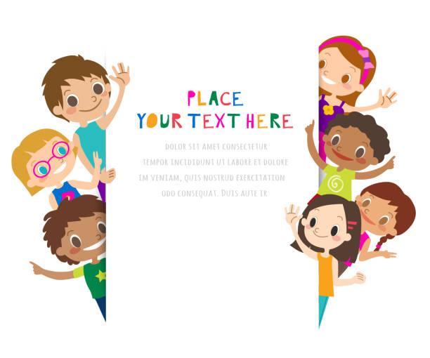 gruppe von kindern winken. kinder winken mit den händen. cartoon-illustration auf weißem hintergrund, kopierbereich für text. - kind stock-grafiken, -clipart, -cartoons und -symbole