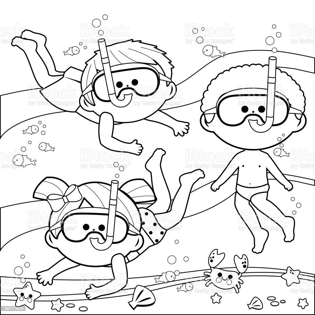 Ilustración de Grupo De Niños Con Buceo Máscaras Nadar Bajo El Mar ...
