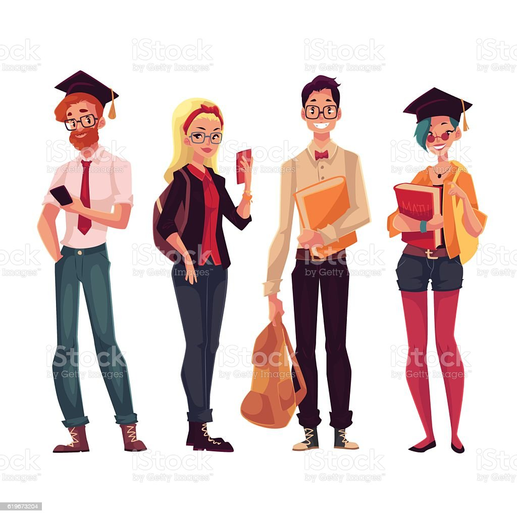 Group of college, university students with books and phones vector art illustration