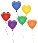 Vector illustration of a group of heart shaped ballots in various colors.