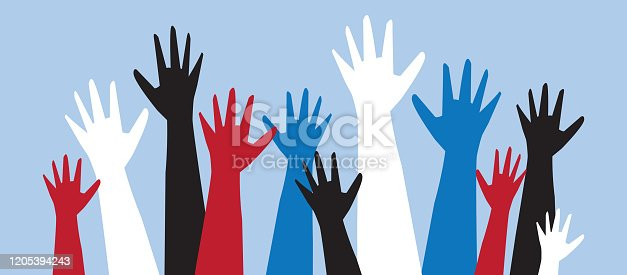 Vector illustration of a Group of colorful multicultural protesters or activists hands in the air. Can be used for Women's Rights, Worker's Strike, Rally's, Political Voting, Sexism and Racism social issues. Includes fully editable. vector eps 10.