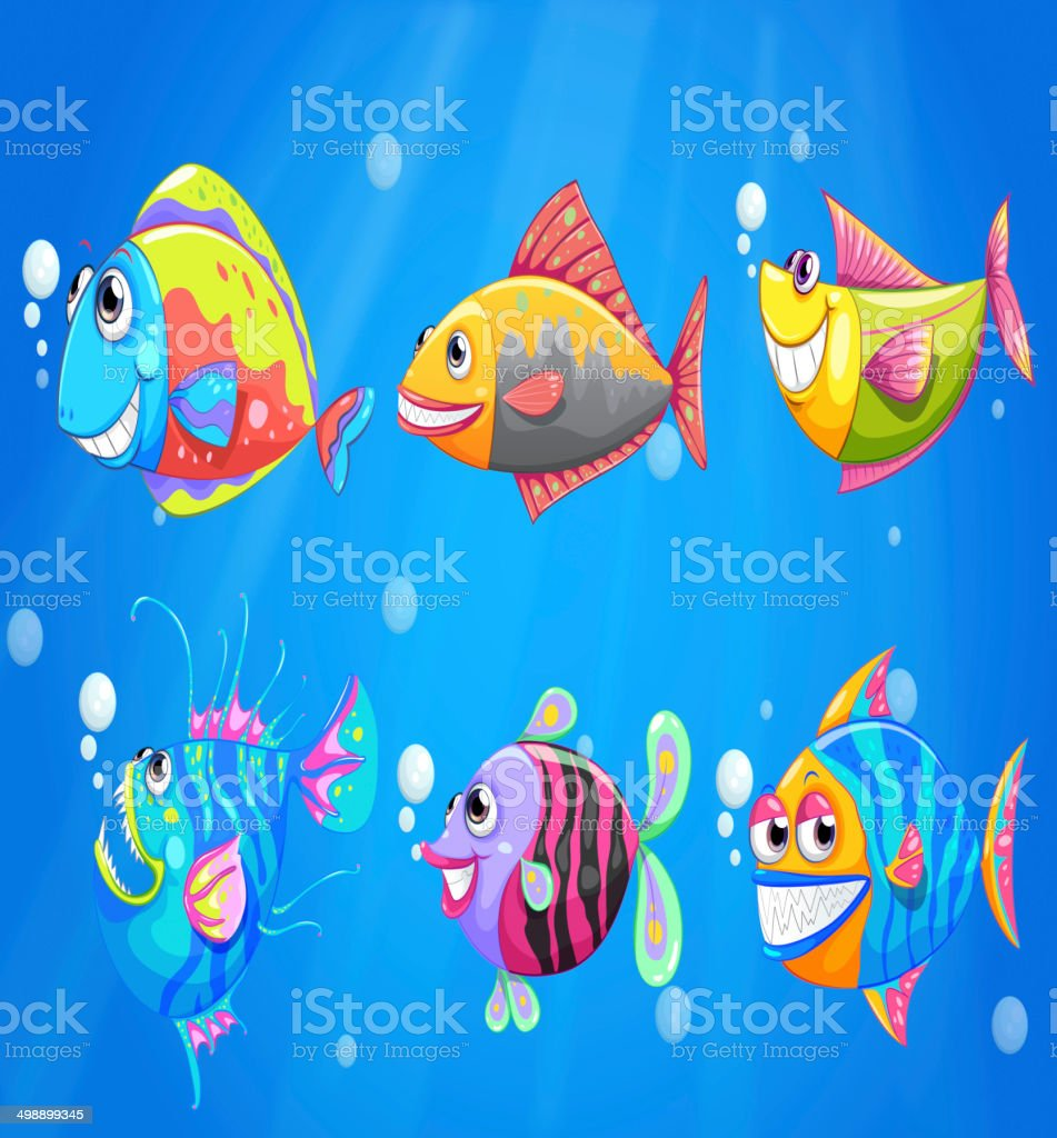 Group of colorful smiling fishes vector art illustration