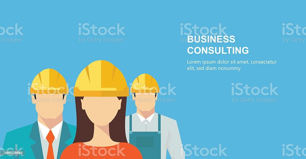 Group of construction workers vector art illustration