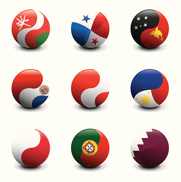 Grupo de bola de cristal Flags - ilustración de arte vectorial